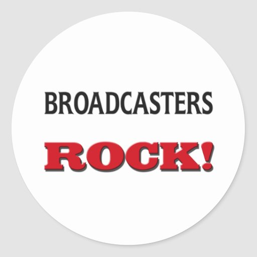 Broadcasters Rock Round Stickers