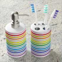 Broader Spectrum Rainbow and White Stripes Soap Dispenser And Toothbrush Holder