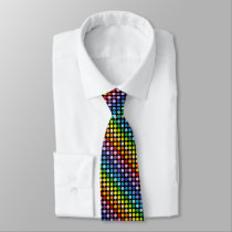 Broader Spectrum Rainbow Polka Dots Black Neck Tie