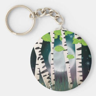 Broadleaved deciduous hardwood Birch Trees Keychain