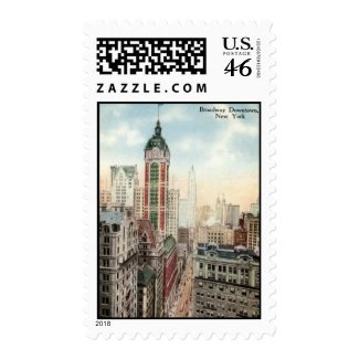 Broadway Downtown NYC Vintage 1913 stamp