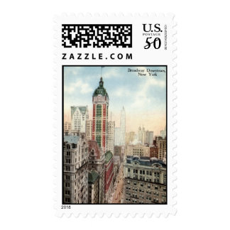 Broadway Downtown NYC Vintage 1913 Postage