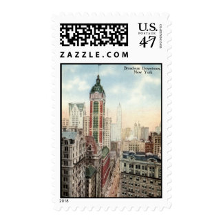 Broadway Downtown NYC Vintage 1913 Postage Stamp