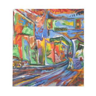 Broadway en la pintura al óleo de la lluvia bloc de papel