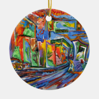 Broadway in the Rain Oil Painting Ceramic Ornament