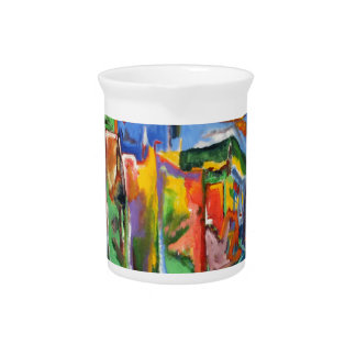 Broadway in the Rain Oil Painting Drink Pitcher