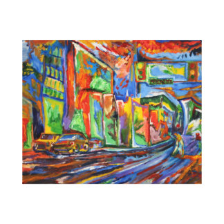 """""""Broadway in the Rain"""" Synesthesia Oil Painting Canvas Print"""