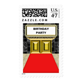 Broadway Lights Marquee Red Carpet Birthday Party Stamp