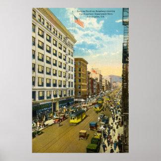 Broadway, Los Angeles 1916 Vintage Poster