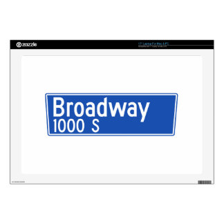 """Broadway, Los Angeles, CA Street Sign Skin For 17"""" Laptop"""