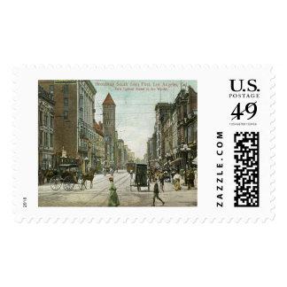 Broadway, Los Angeles, California 1910 vintage Stamp