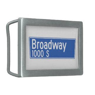 Broadway, Los Ángeles, placa de calle de CA Hebillas Cinturon Rectangulares