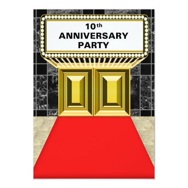 Broadway Marquee Red Carpet 10 th Anniversary Card | Zazzle