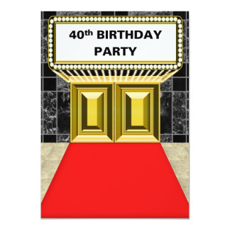 Broadway Marquee Red Carpet 40 th Birthday Party Card