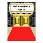 Broadway Marquee Red Carpet 40 th Birthday Party Custom Invitation