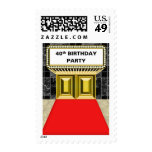 Broadway Marquee Red Carpet 40 th Birthday Party Stamps