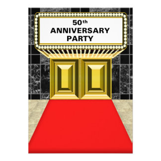 Broadway Marquee Red Carpet 50 th Anniversary Custom Announcement