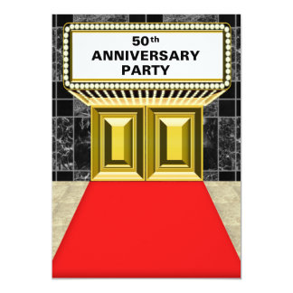 """Broadway Marquee Red Carpet 50 th Anniversary 5"""" X 7"""" Invitation Card"""