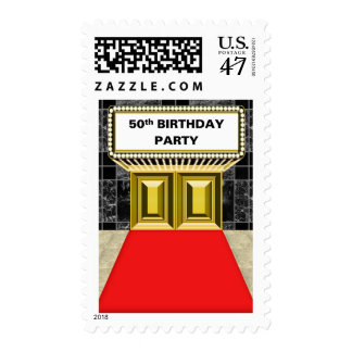 Broadway Marquee Red Carpet 50 th Birthday Party Stamp