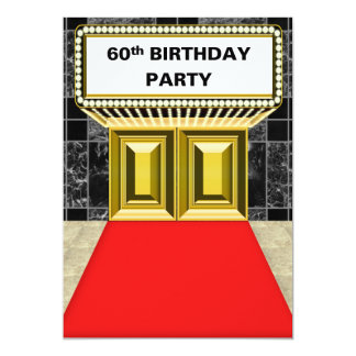 Broadway Marquee Red Carpet 60 th Birthday Party Card