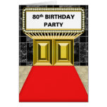 Broadway Marquee Red Carpet 80 th Birthday Party Greeting Card