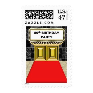 Broadway Marquee Red Carpet 80 th Birthday Party Stamp