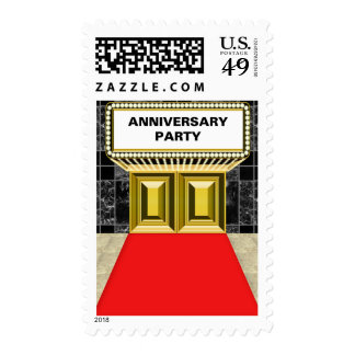 Broadway Marquee Red Carpet Anniversary Party Stamp