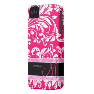 Broadway Pink and white floral damask w/ monogram Case-Mate iPhone 4 Case