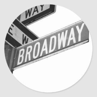 Broadway Sign Classic Round Sticker