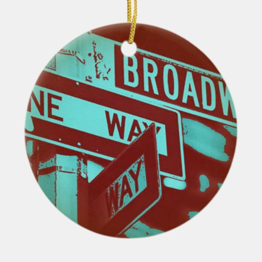 Broadway Sign Double-Sided Ceramic Round Christmas Ornament