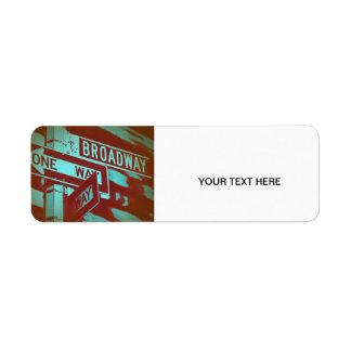 Broadway Sign Return Address Label
