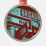 Broadway Sign Round Metal Christmas Ornament