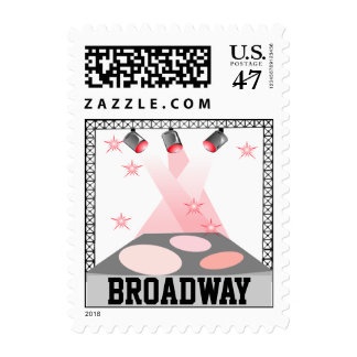 Broadway Stage Lights Travel NYC Big Apple Stamps