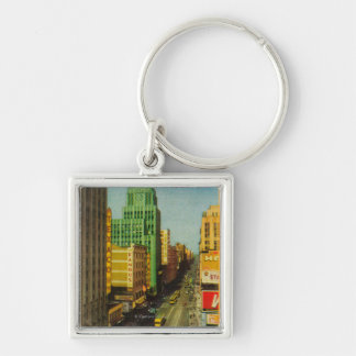 Broadway Street in Los Angeles, CA Silver-Colored Square Keychain