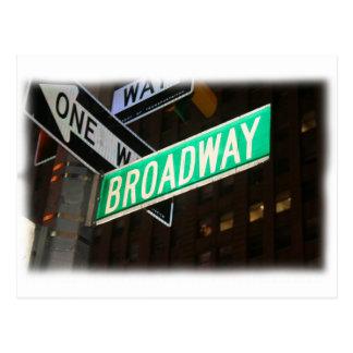 Broadway Street Sign Post Card