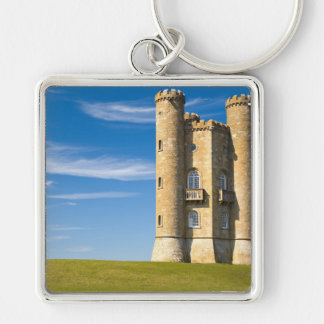 Broadway Tower, England Silver-Colored Square Keychain