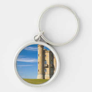 Broadway Tower, England Silver-Colored Round Keychain