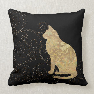 Brocade Cat with Stitches Square Throw Pillow