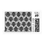 Brocade Elegant Black and White Postage Stamps