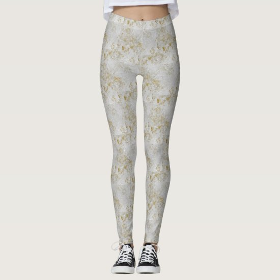 Brocade Gold and White Floral Pattern Leggings