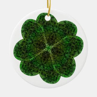 Brocade Shamrock Ceramic Ornament