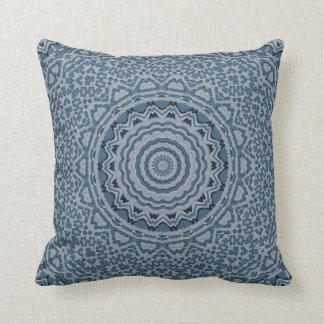 Brocade Steel Blue Throw Pillow
