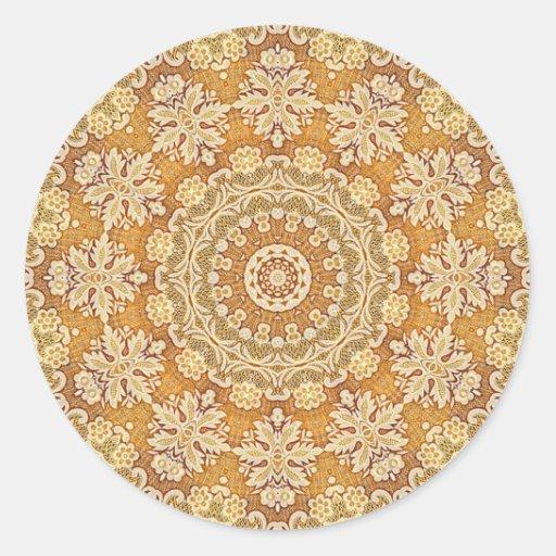 Brocado 2 del oro pegatina redonda