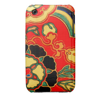 Brocado chino rojo 1825 de Kara Nishiki iPhone 3 Case-Mate Cobertura