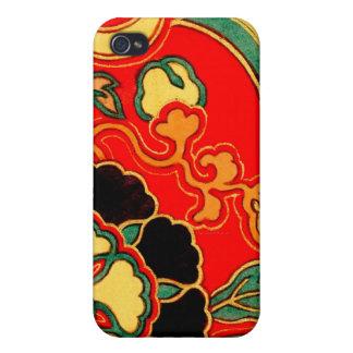 Brocado chino rojo 1825 de Kara Nishiki iPhone 4/4S Fundas