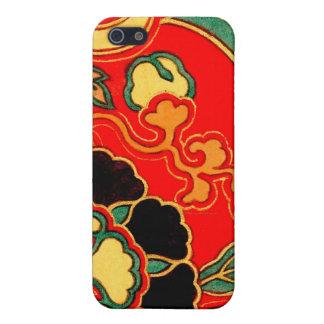 Brocado chino rojo 1825 de Kara Nishiki iPhone 5 Cárcasa