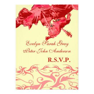 Brocado rojo exótico del hibisco del rsvp del boda anuncio personalizado