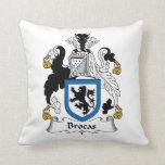 Brocas Family Crest Throw Pillows