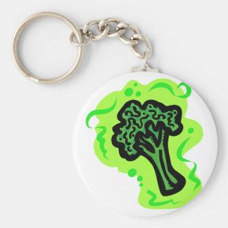 Broccoli Basic Round Button Keychain