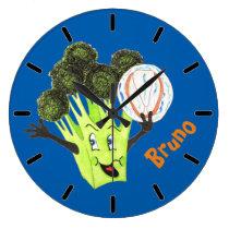 'Broccoli Bruno' Blue Large Round Wall Clock